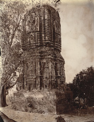 General view of brick temple, east of the village, known as the Durga Temple, Para, Manbhum District.
